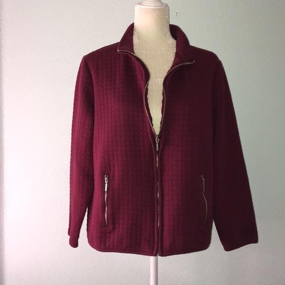 Karen Scott Jackets Blazers Maroon Quilted Jacket 14 Poshmark